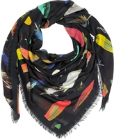 Paul Smith Feather Printed Modal, Silk and Cashmere Men's Wrap