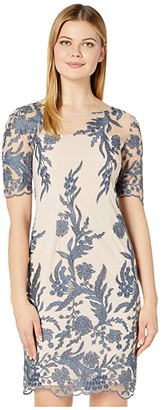 Tahari ASL Short Sleeve Embroidered Shift Dress (Nude/Blue Floral) Women's Dress
