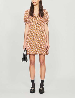 Sandro Graphic-print satin mini dress