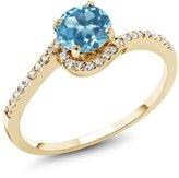 Gem Stone King 1.22 Ct Round Swiss Blue Topaz White Diamond 18K Yellow Gold Ring