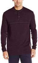 Haggar Men's Long Sleeve Striped 2-In-1 Henley Shirt