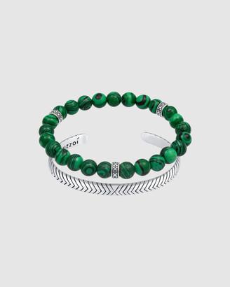 Kuzzoi Bracelet Bracelet Set Oxidised Agate Green Statement in 925 Sterling Silver