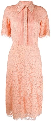 Elisabetta Franchi Embroidered Lace Shirt Dress