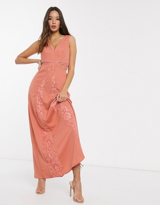 Little Mistress Casey crochet maxi dress in grapefruit