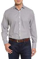 Thomas Dean Men's Stripe Herringbone Sport Shirt