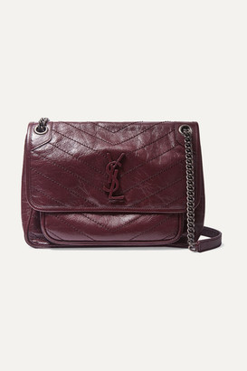Saint Laurent Niki Medium Quilted Crinkled Glossed-leather Shoulder Bag - Burgundy