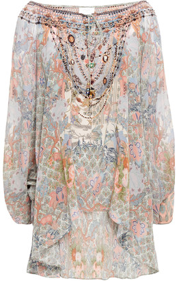 Camilla Embellished Printed Silk Blouse