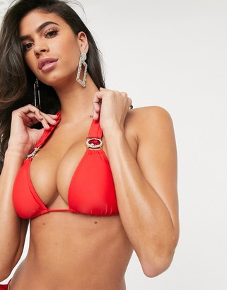 Moda Minx Amour triangle bikini top in red