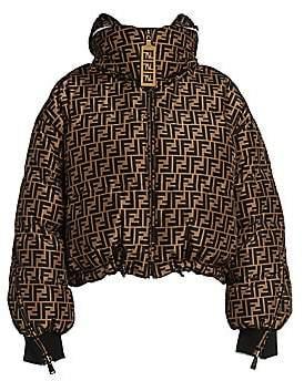 Fendi Women's Allover Logo Reversible Cropped Puffer