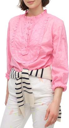 J.Crew Floral Eyelet Ruffled Long Sleeve Shirt