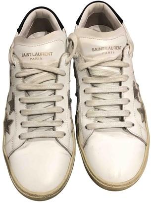 Saint Laurent Court White Fur Trainers