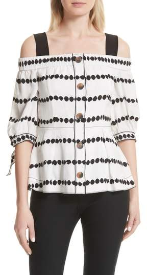 Derek Lam 10 Crosby Off the Shoulder Polka Dot Top