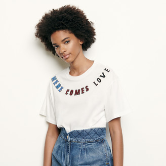 Sandro T-shirt with message patch