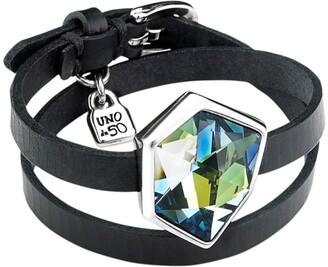 Uno de 50 Refresh Bezel Set Swarovski Crystal Element Leather Wrap Bracelet
