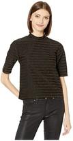 BB Dakota Stripe Shine Lurex Stripe Mock Neck Top (Black) Women's Clothing
