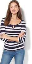 New York & Co. Striped Keyhole T-Shirt