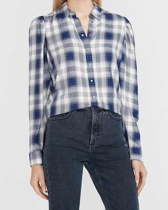 Express Plaid Puff Sleeve Shirt