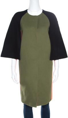 Fendi Colorblock Paneled Wool Cape Style Boxy Coat M