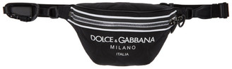 Dolce & Gabbana Black Quilted Logo Pouch