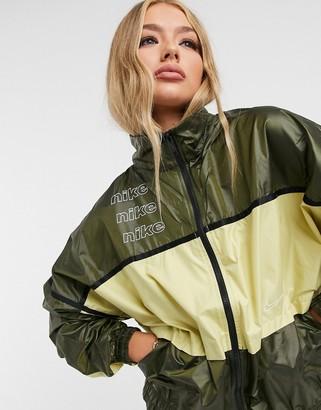 Nike woven colour block track jacket in khaki green