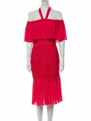 Temperley London Off-The-Shoulder Knee-Length Dress Pink