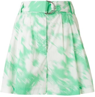 MSGM Painterly-Print Belted Shorts
