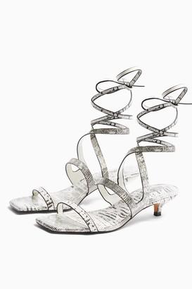 Topshop NARLA Black and White Strap Mini Heels