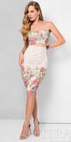 Terani Couture Multi Color Floral Print Two Piece Cocktail Dress