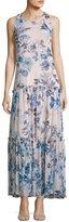 Taylor Floral-Print Chiffon Maxi Dress, White/Blue