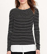 Lauren Ralph Lauren Petite Round Neck Long Sleeve Striped Jersey Top