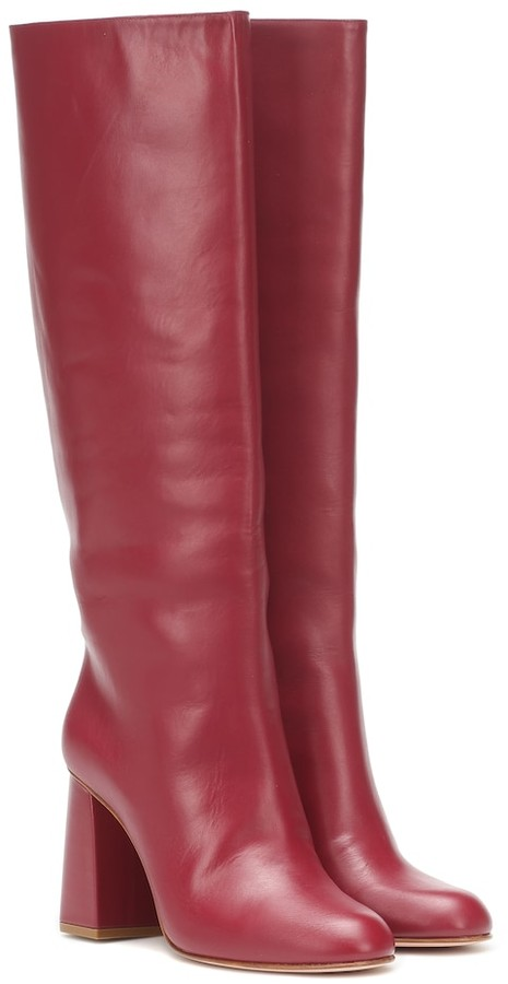 Red Leather Knee-high Boots | Shop the