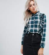 Noisy May Petite Check Shirt With Ruffle Detail