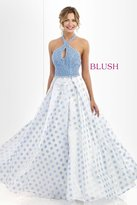 Blush Lingerie Embellished Halter Neck Polka Dot Printed Ball Gown 5516