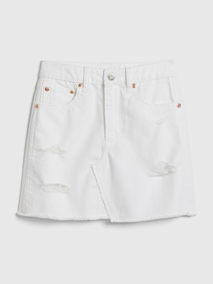 Gap Kids Distressed White Denim Skirt