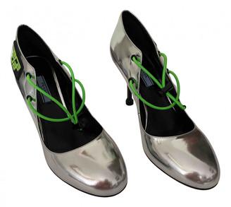 Prada Mary Jane Silver Patent leather Heels