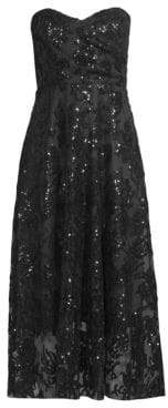 Milly Women's Tori Sequined Lace Strapless Dress - Black - Size 12
