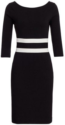 Joan Vass Boatneck Stripe Waist Dress