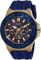 GUESS GUESS? W0674G2 45mm Gold Plated Stainless Steel Case Blue Rubber Mineral Men's Watch