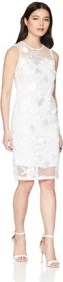 Calvin Klein Women's Sleeveless Lace Sheath with Illusion Neckline Dress