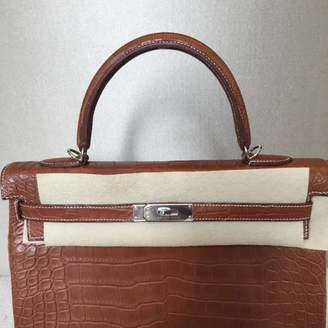 Hermes Kelly 35 Brown Crocodile Handbags