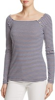 Three Dots Button Shoulder Stripe Tee