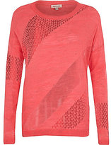 River Island Womens Pink slouchy mesh linen top