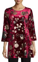Caroline Rose 3/4-Sleeve Panne Velvet Tunic W/ Shimmer, Petite