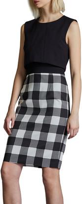 Toccin Sleeveless Overlay Sheath Dress w/ Buffalo Check Skirt