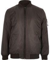 River Island Boys dark grey padded bomber jacket