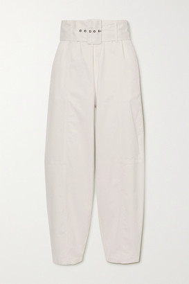 See by Chloe Belted Stretch-cotton Twill Tapered Pants - White