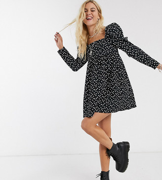 Reclaimed Vintage inspired cotton smock dress with spot print in black