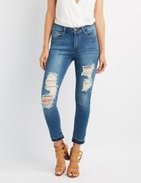 Charlotte Russe Machine Jeans Released Hem Destroyed Skinny Jeans