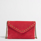 J.Crew Factory Factory studded suede and leather envelope clutch