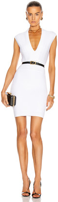 Balmain Sleeveless V-Neck Pleated Knit Dress in White | FWRD